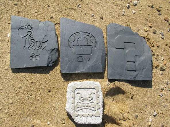 Handmade Super Mario World Slate and Sandstone Stones