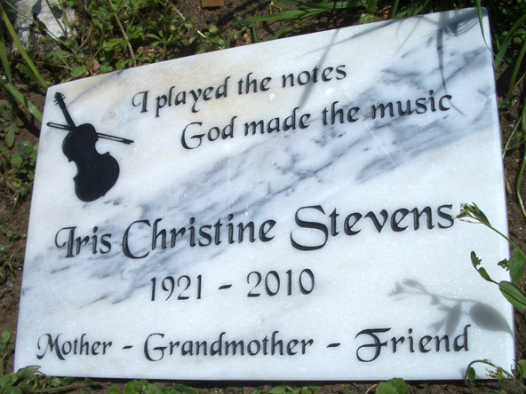 Marble plaque with deep engrave.