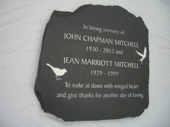 Memorial plaque for both grandparents.