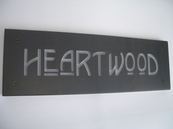 slate contemporary house plaque with deep engraved text