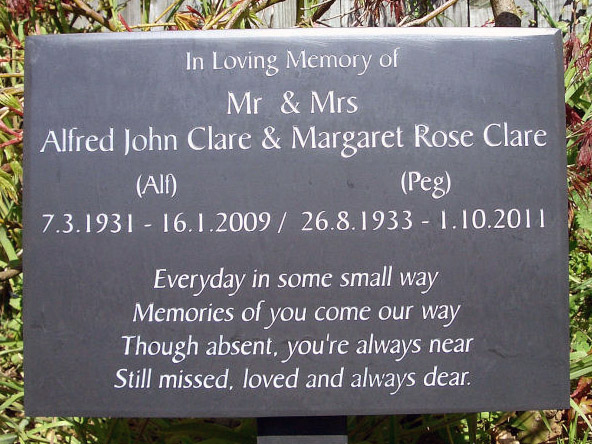 Slate plaque with a custom message.